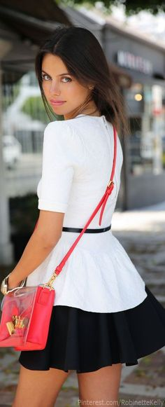 Street Style | Vivaluxury: Torn by Ronny Kobo peplum top, Cameo Mad World skirt, Marc by Marc Jacobs clearly top handle bag