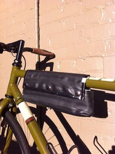 UpCycled Bicycle Inner Tube & Vinyl Banner Purse/Top Tube Bag