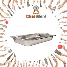 ChefGiant Food Pans With Covers Set-Full Size, W/ Handles-Set of 6  #ChefGiant #KitchenUtensils #Cookware #FoodPans