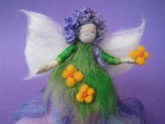 Needle Felted Spring Fairy Flower fairy spring Nature by boridolls, $28.00