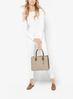 MICHAEL KORS Mercer Large Heritage Signature Tote. #michaelkors #bags #canvas #tote #lining #polyester #shoulder bags #hand bags #