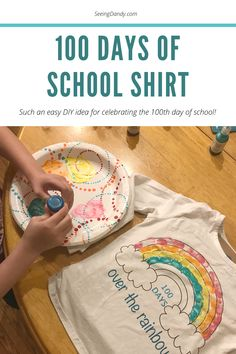 This day of school shirt is easy to make! Kids will love creating and wearing the colorful fingerprint covered shirt to celebrate 100 days of school.