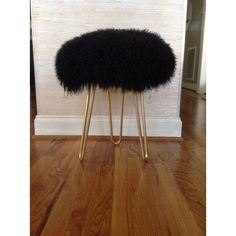 Image of Genuine Mongolian Lamb Black Fur Stool