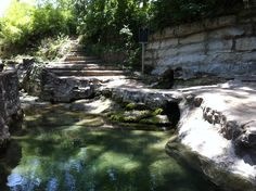 Historic Lion's Mouth Natural Spring at Proctor Springs Park, inside William Cameron Park in Waco, Texas. The city has recently decided to drain the natural pool (seen here). - photo by (c) 2011 Lee Edward Carter