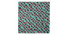 Teal, Red and Black, Funky Weave Pattern Duvet Cover