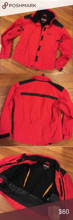 Marmot vintage ski jacket Cute ski jacket that I purchased on poshmark, fleece lining and great condition. Gore-tex ski jacket. Comes without hood. I'm selling because I want something longer that goes to mid thigh Marmot Jackets & Coats Puffers