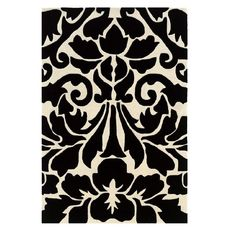 Trio Collection Black and White 1 ft. 10 in. x 2 ft. 10 in. Indoor Area Rug, Primary: Black/Secondary: White