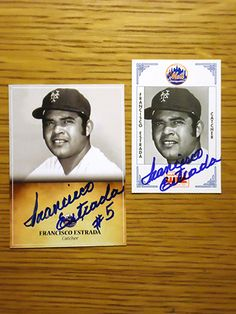 Francisco Estrada: (1971 New York Mets) Custom made Mets baseball card signed in blue sharpie. (From my All-Time Mets Roster collection.)