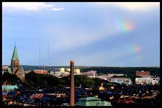 Church and rainbow