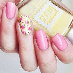 Spring pink and yellow floral nail design #nails #nailart #cute
