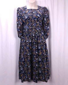 622117ccacdc Vintage Laura Ashley Prairie Dress 14 US 18 UK Blue Floral Needlecord  Pockets #LauraAshley #