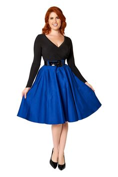 Pinup Couture Doris Skirt in Royal Blue Sateen | Pinup Girl Clothing