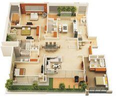 Efficient3Bedroomfloorplans 1223×936  Projeto Magnificent 3 Bedroom House Design Ideas Review