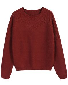 Hollow Knit Loose Maroon Sweater