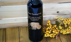 Personalized Thanksgiving wine bottle - I'm giving this to my hostess this year!