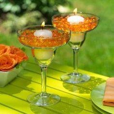Table Decorations Using Martini Glasses   ... centerpieces using large glass or plastic cocktail glasses such as