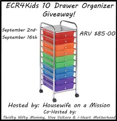 Housewife on a Mission: ECR4Kids 10 Drawer Organizer #HomeSchoolOrganizing