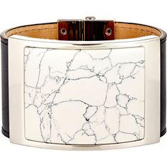 Balenciaga Large Marble-Plate Bracelet ($745) ❤ liked on Polyvore featuring jewelry, bracelets and colorless