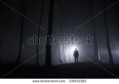 man walking in spooky forest at night - stock photo Night Forest, Cover Design, Novels, Stock Photos, Gallery, Paranormal, Zombies, Image, Walking