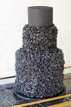 This Celeb Couple's Black Wedding Cake Is What Glam Dreams Are Made Of | Brit + Co