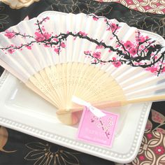 Cherry Blossom Silk Fan Wedding or Party Favor - Asian Wedding - Japanese Wedding - Zen Wedding