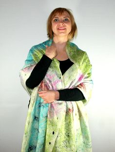 Felted Scarf Art Scarf Multicolour Scarf White scarf by Filtil