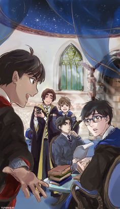 runesque: I wish I could draw all my favourite scenes from the Harry Potter AU fic Entwining Fates! Yuuri being Ravenclaw makes sense to me and I love that his Patronus is a Japanese crane.