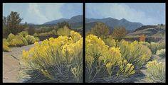 """Wash in bloom by brian lemke Oil ~ 20"""" x 40"""" Diptic"""