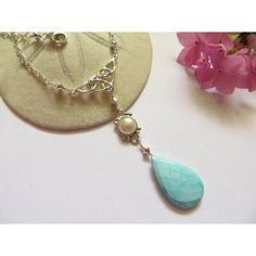 Imperial Crown Turquoise Necklace, Sterling Silver Pearl June December... ($86) ❤ liked on Polyvore featuring jewelry, necklaces, long chain necklace, pendant necklaces, pearl pendant necklace, long turquoise necklace and blue bead necklace