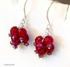 Mystic Garnet & Ruby Agate Sterling Silver Wrapped Gemstone Cluster Earrings, Handmade Earwires ... July and January on Etsy, $34.00