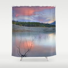 Pink sunset at the lake. Bermejales Shower Curtain by Guido Montañés - $68.00