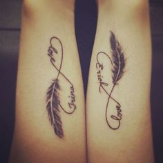 Personalized infinity couple tattoo. Both tattoos have the same style and design, the only difference is that they tattooed each other's names on each other's hands for a more personal touch.