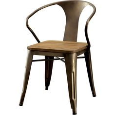 008353bf8ecc Industrial Style Metal and Rustic Wood Dining Chairs (Set of 2) - ZM ...