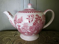 Red Willow Transfer Ware Porcelain Teapot, 5 Cup; James Sadler And Sons LTD on Etsy, $32.00