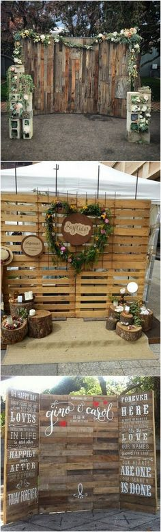chic rustic wooden wedding photobooth backdrop ideas_2 #weddingdecor #weddingideas #weddingphotos #weddingbackdrops #weddinginspiration