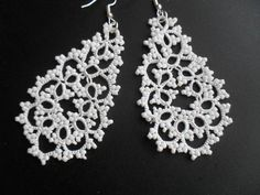 Handmade tatted earrings made of white polyester thread  and