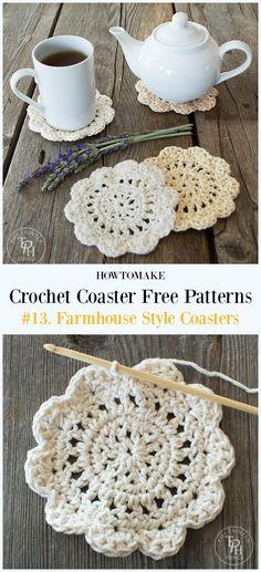 Crochet Farmhouse Style Coasters Free Pattern - Easy #Crochet Coaster Free Patterns