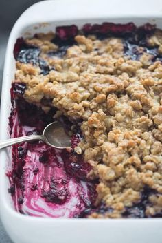 The easiest Triple Berry Crisp made with frozen raspberries, blueberries, and blackberries for a juicy berry filling nestled under a crispy oat topping.