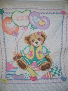 Cross stitched quilt for granddaughter