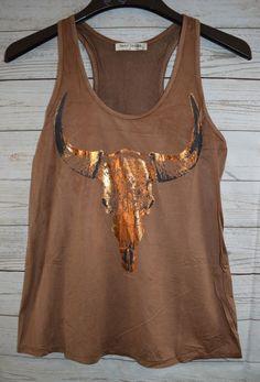 COWGIRL gYPSY Copper Metallic SKULL Longhorn Steer Tank Top Shirt Western LARGE #BEARDANCE #TANK