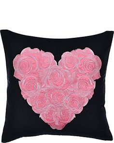PUNK PRINCESS HEART EMBROIDERED PILLOW BLACK accessories no-dept no classes fashion