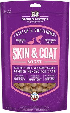 Stella & Chewy's Solutions Skin & Coat Boost Cage Free Duck & Wild Caught Salmon Cat Food Dinner Mixers - 7.5-oz