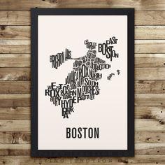 DISCOUNTED Boston streets neighborhoods sites illustration graphic