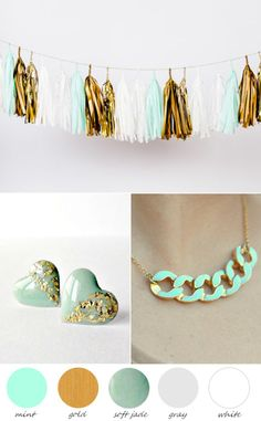 The Perfect Palette: Party Palette | Mint and Gold http://www.theperfectpalette.com/2014/01/party-palette-mint-and-gold.html