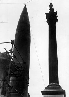 September 14, 1945 V-2 rocket near Nelson's Column in Trafalgar Square.