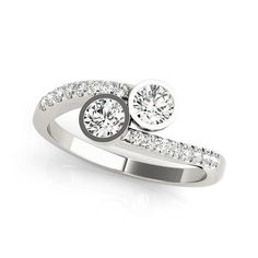0.38 Ct Tw Dual Stone Bypass Engagement Ring in 14k White Gold - 15% OFF with Code: holiday15 - Holiday Discount Offer and Free FedEx Shipping!!