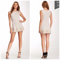 """Sleeveless Leather Trim Dress Beautiful Blush/nude dress. """"Sand"""" color. Size Medium. NWT, the price tag isn't on the tag though. Didn't come with one -- the price was on the packing slip. Never worn. Zipper in the back. Too large for me. Brand: My Tribe. Cheaper on Ⓜ️ercari. My Tribe  Dresses"""