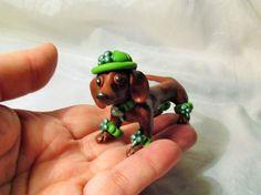 St. Patrick's Day Dachshund DOG ooak polymer clay unique new folk art miniature #StPatricksDay Dapple Dachshund, Dachshund Art, Animals And Pets, Cute Animals, Weenie Dogs, Dog Art, Animals Beautiful, Fur Babies, Dog Breeds