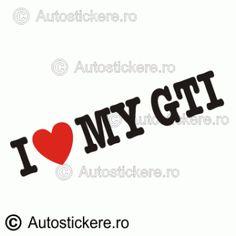 I love my GTI Company Logo, Stickers, Love, Amor, Decals