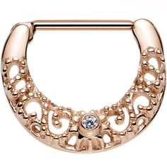 Rose Gold PVD 316L Gilt Nipple Clicker Created with Swarovski Crystals   Body Candy Body Jewelry